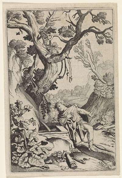 Narcissus knielend bij een fontein