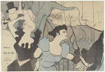 Affiche met aankondiging van gemaskerd bal in Casino van Parijs met portretten van Cha-u-kao en Yvette Guilbert; Les Redoutes du Casino de Paris