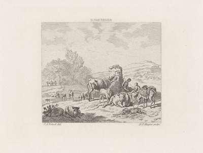 Landschap met twee herderinnetjes met vee