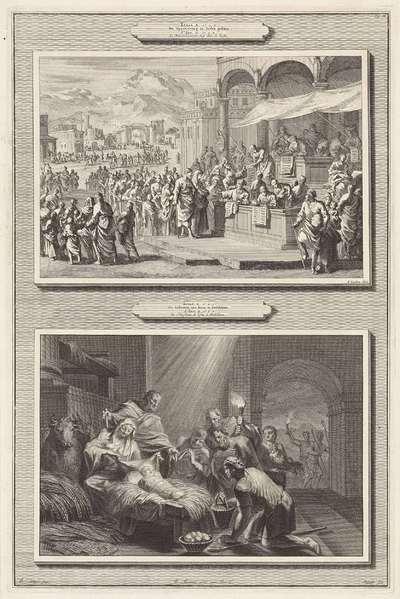 Volkstelling te Bethlehem en de aanbidding door de herders; Lukas II vs.1: De Opschryving in Iudea gedaan / Lukas II vs.6: De Geboorte van Iesus te Bethlehem