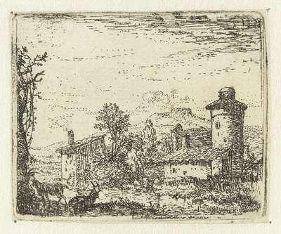 Italianiserend landschap met ronde toren en twee geiten; Kleine landschappen