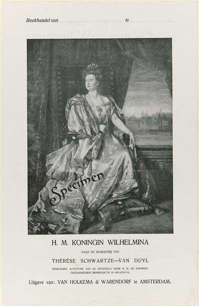 Bestelformulier bij het portret van Wilhelmina, koningin der Nederlanden