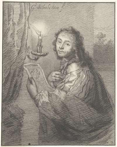 Portret van Godfried Schalcken bij kaarslicht
