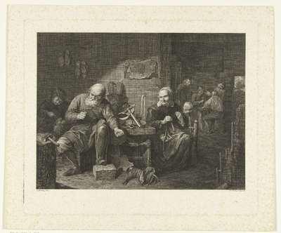 Schoenmaker in werkplaats en spinnende vrouw; Schoenmakerswerkplaats