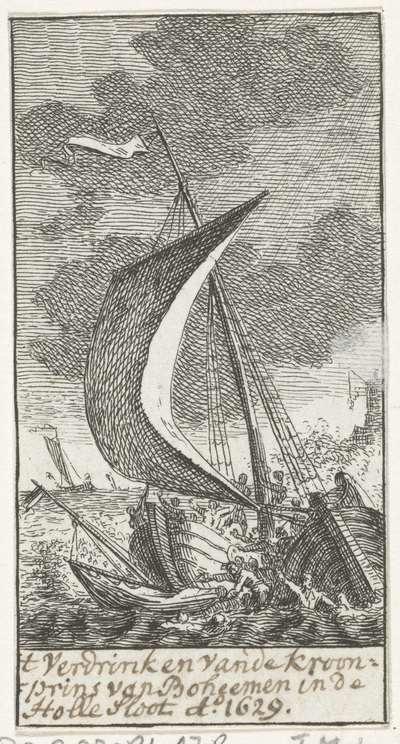 Image from object titled De kroonprins van Bohemen verdrinkt op het IJ, 1629