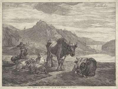 Rivierlandschap met rustende herder en kudde; Landschappen met koeien