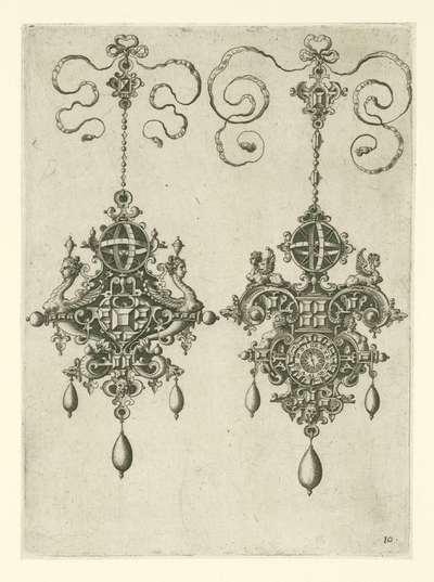 Twee hangers met zonnewijzer; Monilium bullarum inauriumque … icones