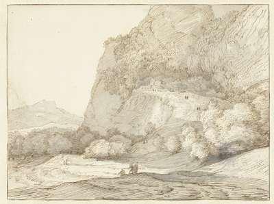 Image from object titled Bergachtig landschap met op de voorgrond drie figuren