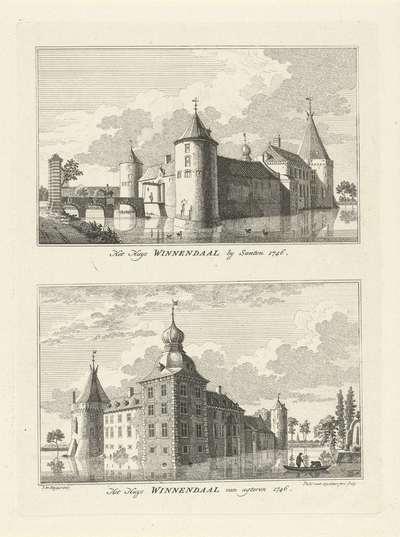 Gezichten op het Huis Winnendaal, 1746; Het Huys Winnendaal by Santen 1746 / Het huys Winnendaal van agteren 1746; Dorps- en stadsgezichten te Kleef