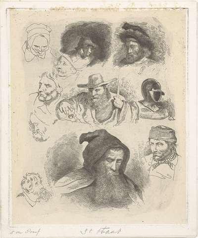 Portretstudie van verschillende hoofden