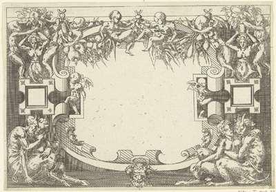 Ovale cartouche, linksonder en rechtsonder zit een saterpaar.; Plafonds en cartouches in een omlijsting van rolwerk met grotesken, guirlandes en mascarons; Kleine cartouche naar voorbeeld te Fontainebleau