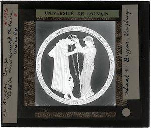 Oud-Grieks aardewerk. Brygos painter. Schaal; Komos