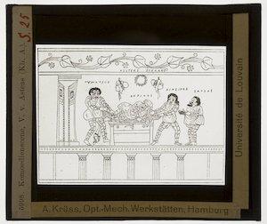Oud-Grieks aardewerk. Asteas. Vaas; Phlyax-scène