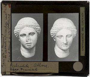 Twee hoofden van Aphrodite naar Praxiteles' Aphrodite van Cnidus :