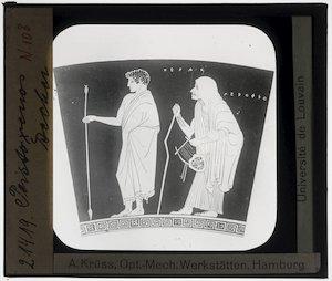 Image from object titled Oud-Grieks aardewerk. Pistoxenos painter. Fragment; Man en oude vrouw