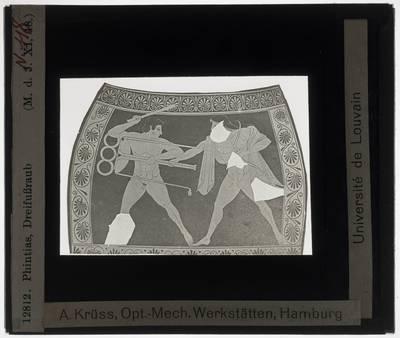 Oud-Grieks aardewerk. Phintias. Amfora; Hercules en Apollo, strijd om de driepoot