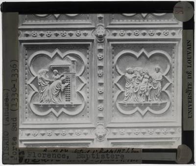 Andrea Pisano. Zuidelijke poort van het Baptisterium, Florence; Detail: Johannes De Doper in de gevangenis, bezocht door zjn discipelen, Christus ontvangt de boodschappers van Johannes de Doper