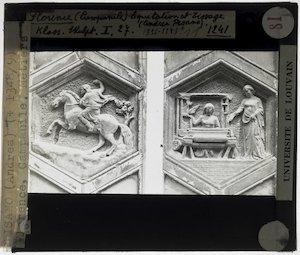 Andrea Pisano. Twee reliëfs van de campanile; De Kunst van het weven en De Kunst van de jacht