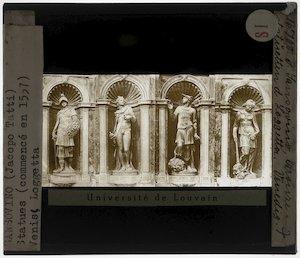 Jacopo Sansovino. Loggetta, San Marcoplein, Venetië; Detail: Vier beelden: Minerva, Apollo, Mercurius, Pace