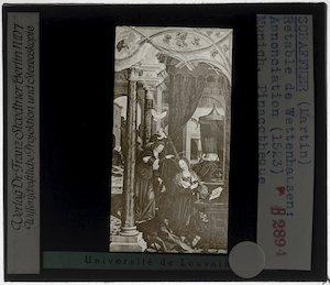 Martin Schaffner. Altaar van Wettenhausen; Paneel links: Annunciatie aan Maria