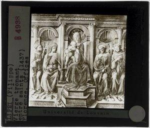 Filippo Lippi. Madonna met kind en vier heiligen