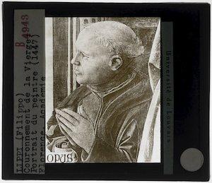 Filippo Lippi. Kroning van Maagd Maria; Detail: Portret van de opdrachtgever