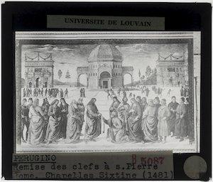 Pietro Perugino. Christus overhandigt de sleutels aan Petrus