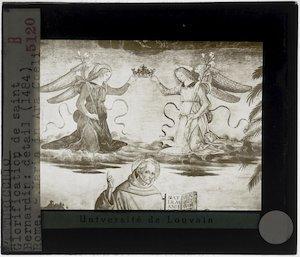 Pinturicchio. De verheerlijking van Sint-Bernardinus; Detail: Sint-Bernardinus en twee engelen