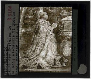 Pinturicchio. De verrijzenis van Christus; Detail: Paus Alexander VI