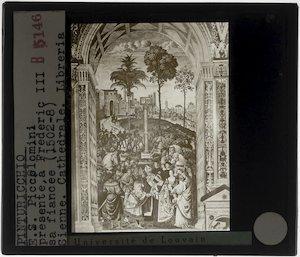 Pinturicchio. Enea Silvio Piccolomini stelt Eleonora van Portugal voor aan Frederik III
