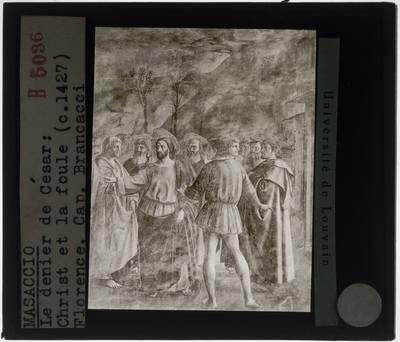 Masaccio. De cijnspenning; Detail: Christus en de belastingontvanger