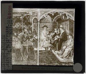 Spinello Aretino. Paus Alexander III ontvangt een ambassadeur
