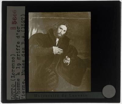 Lorenzo Lotto. Portret van een man met een gouden poot