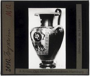 Oud-Grieks aardewerk. Leagros groep. Hydria; Detail: Achilles (?)