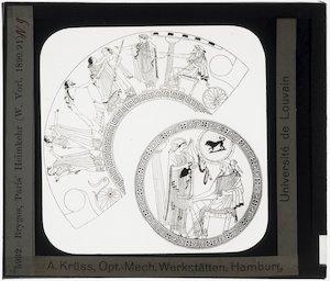 Oud-Grieks aardewerk. Brygos painter. Schaal; Ontwerp: De terugkeer van Paris