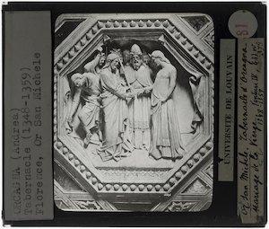 Orcagna. Tabernakel; Detail: Het huwelijk van Maria