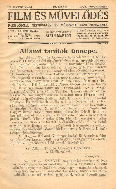 Image from object titled Film és művelődés 1928 III. évfolyam 12. szám