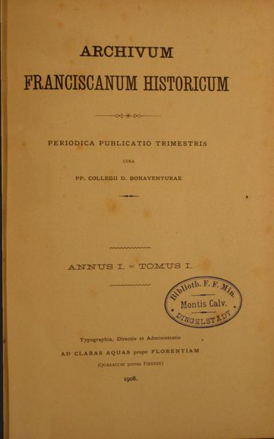 Image from object titled Archivum Franciscanum Historicum 1908