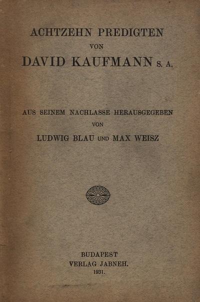 Image from object titled Achtzehn Predigten von David Kaufmann