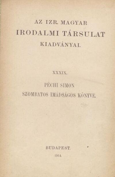 Image from object titled Péchi Simon szombatos imádságos könyve
