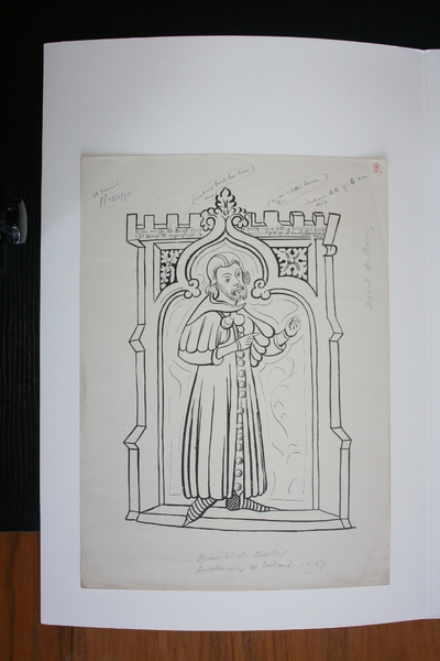 David de Barry, Justiciar(1266-67); Image of Du Noyer's tracings and reproduction work on the Waterford Charter Roll of 1373