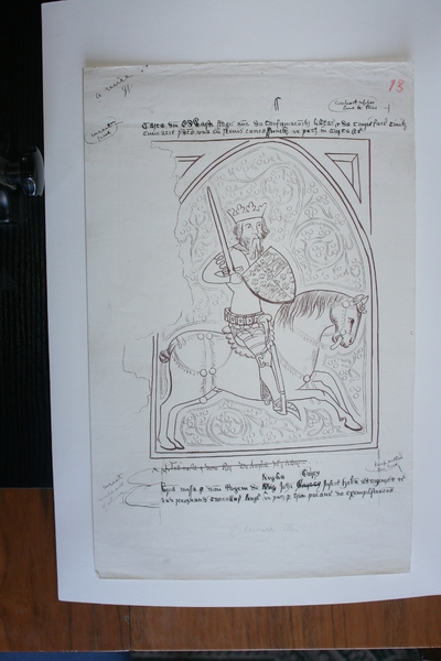 Edward III on horseback (1327-1377); Image of Du Noyer's tracings and reproduction work on the Waterford Charter Roll of 1373