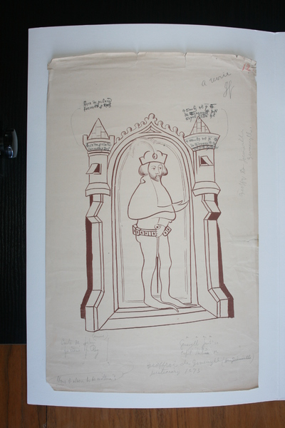 Geoffry de Geneville, Justiciar (1273-76); Image of Du Noyer's tracings and reproduction work on the Waterford Charter Roll of 1373