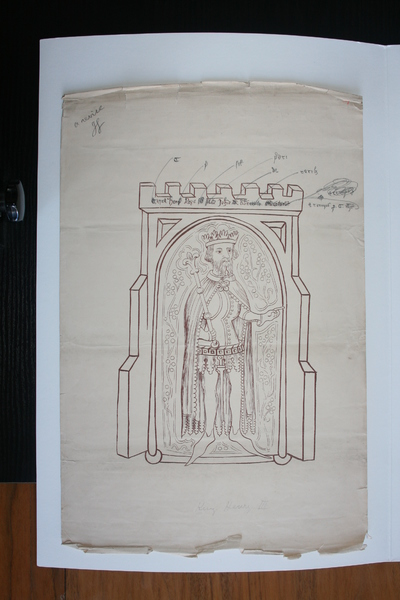 Henry III (1216-1272); Image of Du Noyer's tracings and reproduction work on the Waterford Charter Roll of 1373