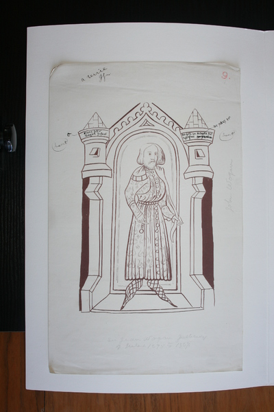 John Wogan, Justiciar (1295-1301; 1305-08); Image of Du Noyer's tracings and reproduction work on the Waterford Charter Roll of 1373