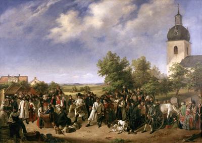 Image from object titled Marknad vid Åsen, oljemålning