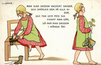 Image from object titled Färglagt ritat vykort, flicka och text om skovård, tidigt 1900-tal