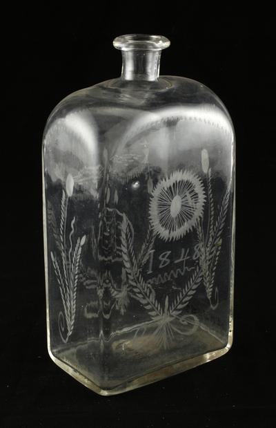 Brnnvinsflaska med etsat motiv, daterad 1848, frn Valla i