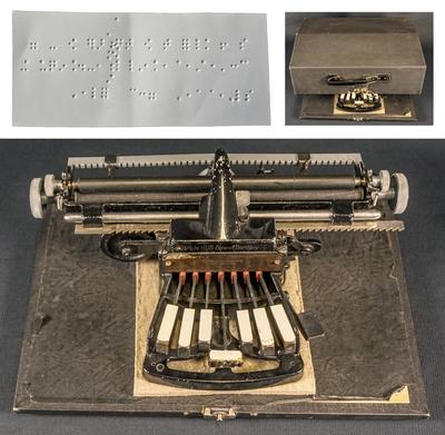 Image from object titled Skrivmaskin för upphöjd blindskrift, Braille, från Nyköping, 1940-tal