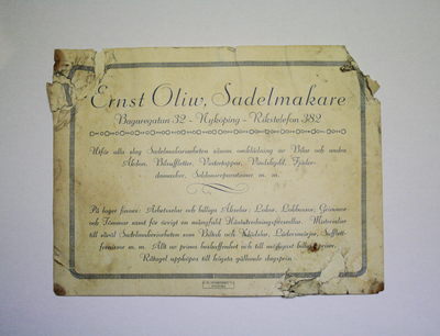 Sadelmakaren Ernst Oliws visitkort